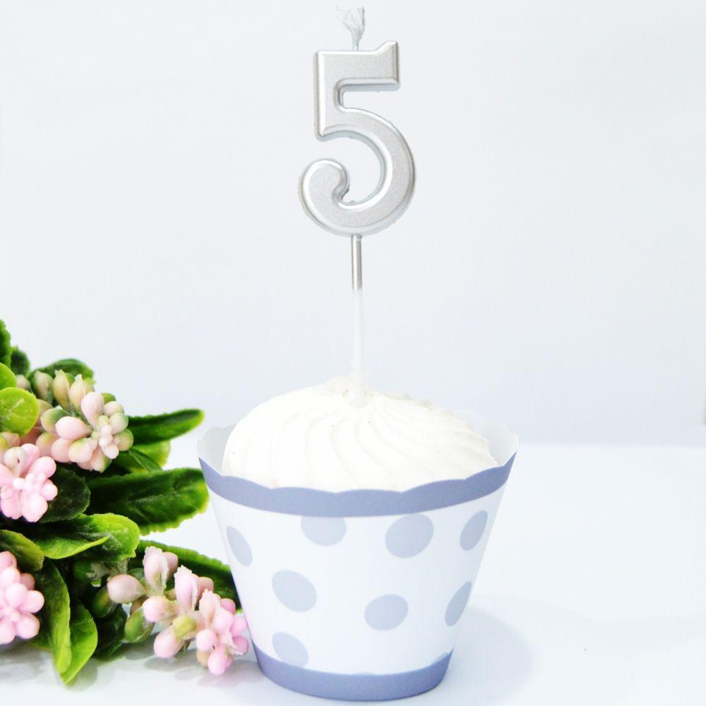 Свеча в торт цифра 5 серебро
