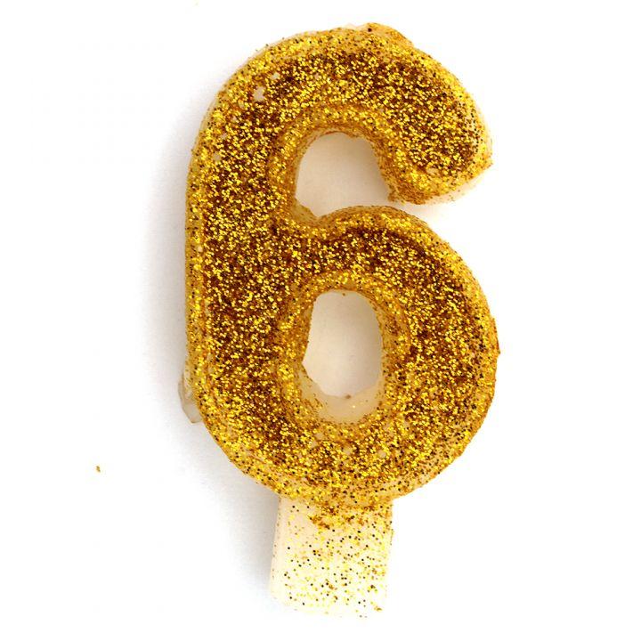 Свеча в торт цифра 6 золотая с блестками