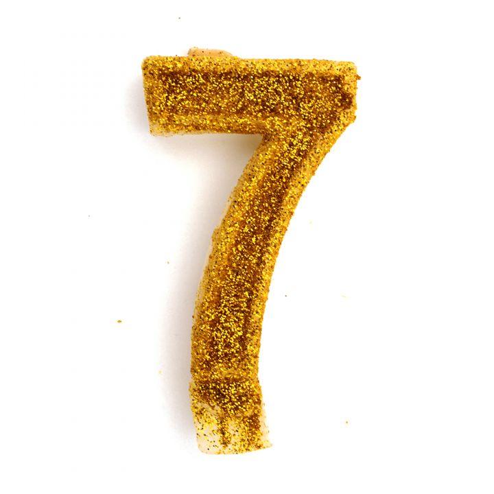 Свеча в торт цифра 7 золотая с блестками