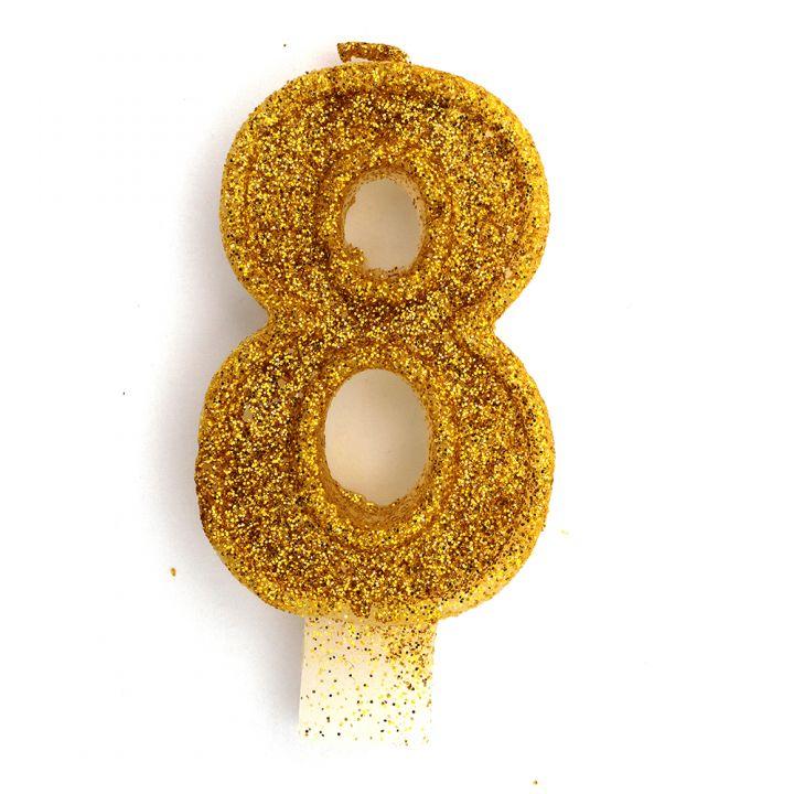 Свеча в торт цифра 8 золотая с блестками