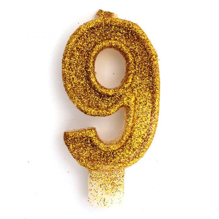 Свеча в торт цифра 9 золотая с блестками
