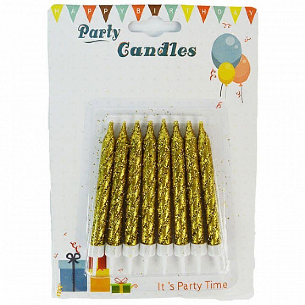 Свечи в торт с блестками золото 8 шт.