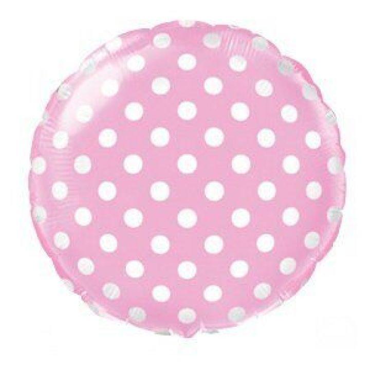 Круг розовый в горошек