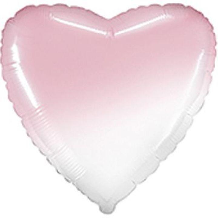 Сердце омбре бело-розовое