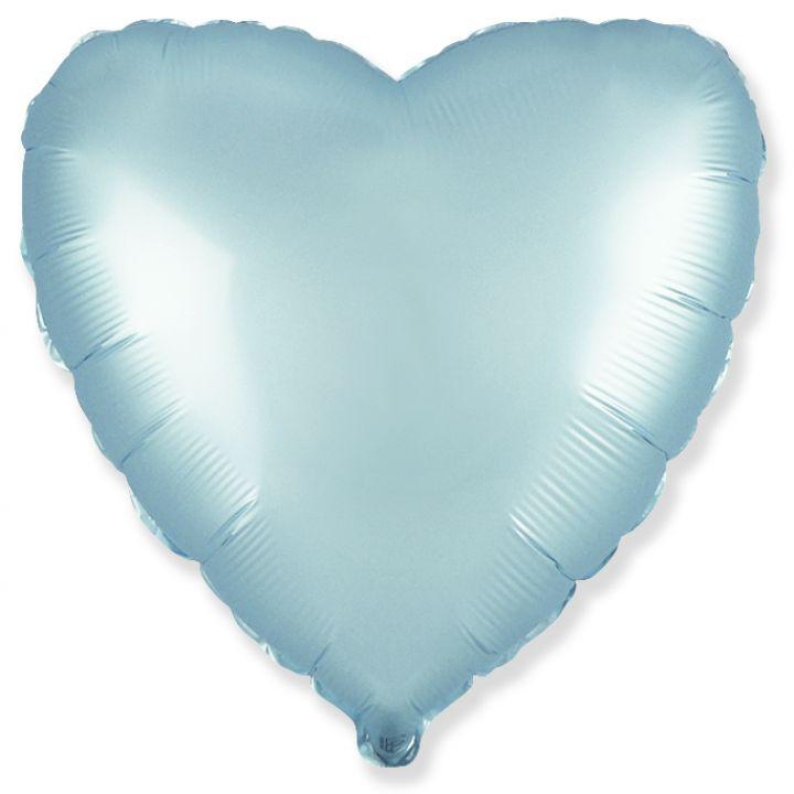 Сердце сатин пастель голубое